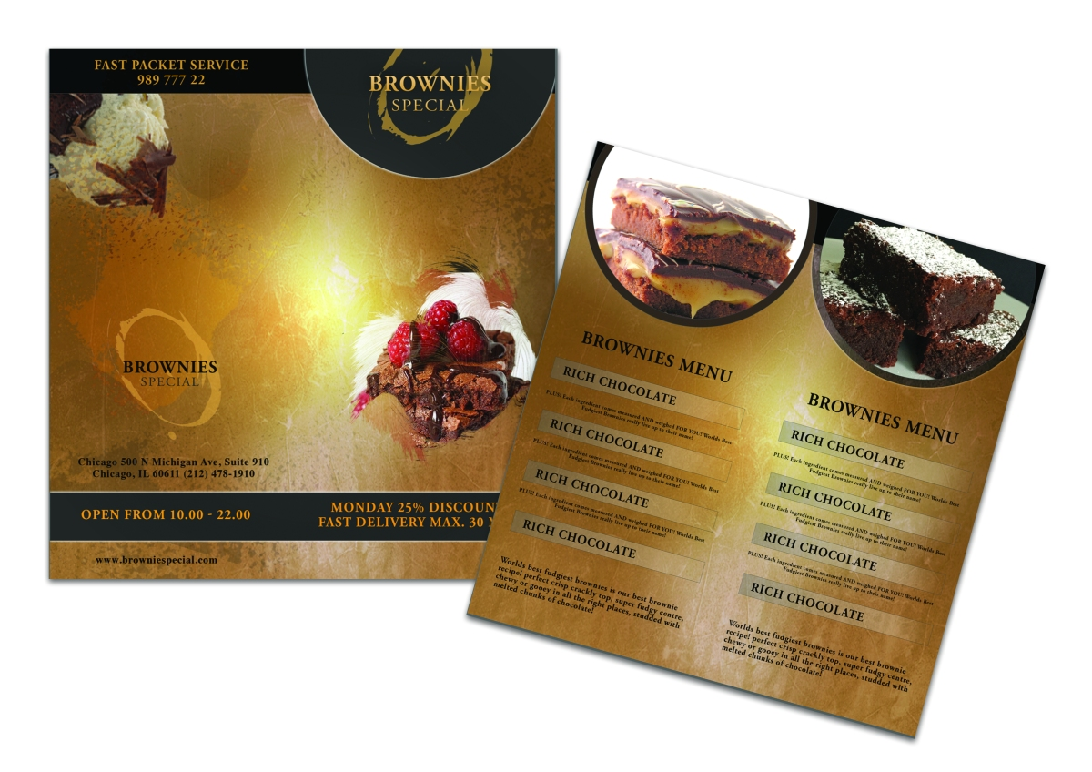 Brownies Bi Fold Menu Brochure