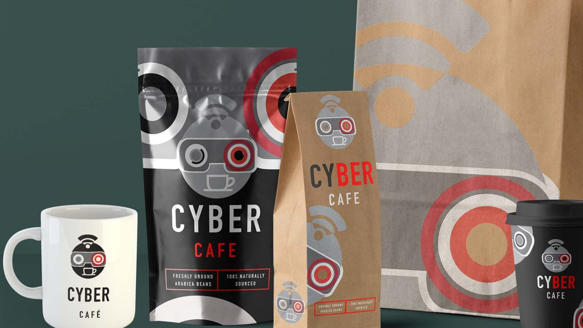 New Cyber Café packaging + branded items