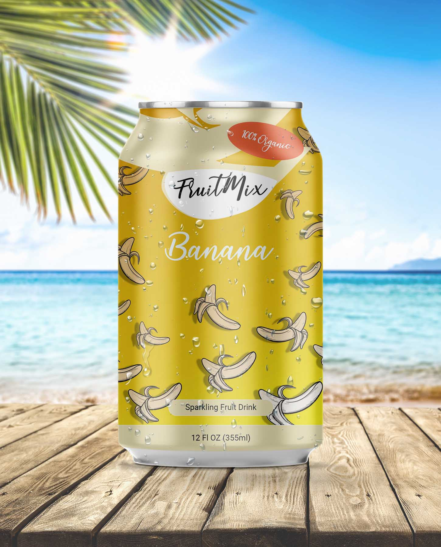 Can packaging design for Banana Sparkling Drink